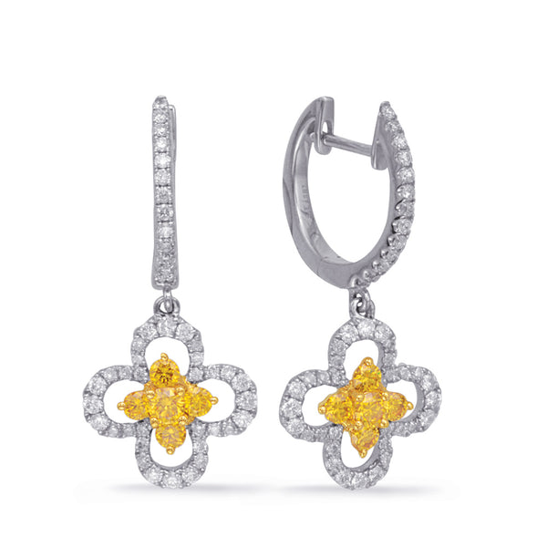 14K White Gold Yellow Diamond Earrings. #1090-E7728YDWG