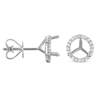 Three Prong Earring Setting 1.00ct TW