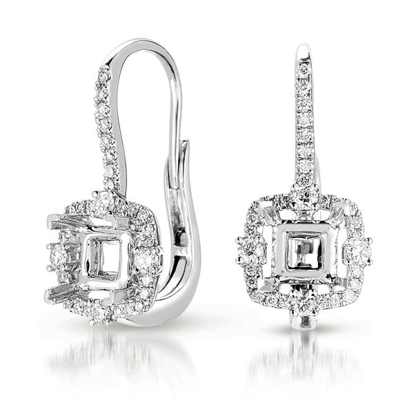 Hallo Earring Setting For 1ct tw princes