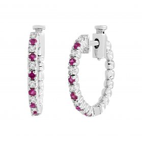 14K Ruby & Diamond Hoop Earrings. #1163-E788W-R