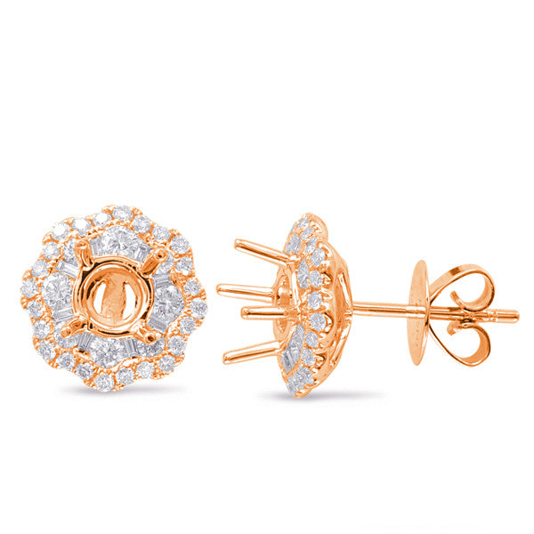Rose Gold Halo Diamond Earring
