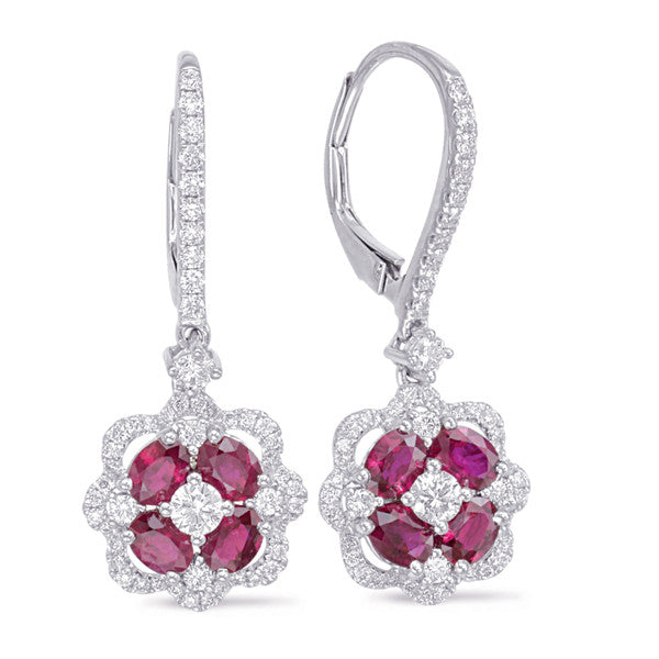 White Gold Ruby & Diamond Hoop Earring