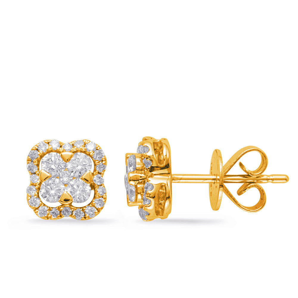 14K Yellow Gold Diamond Earrings.#1090-E7963YG