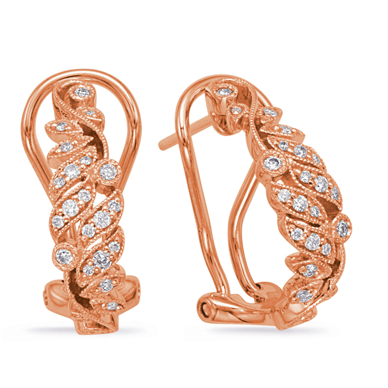 14K Rose Gold Diamond Earrings.#1090-E7996RG