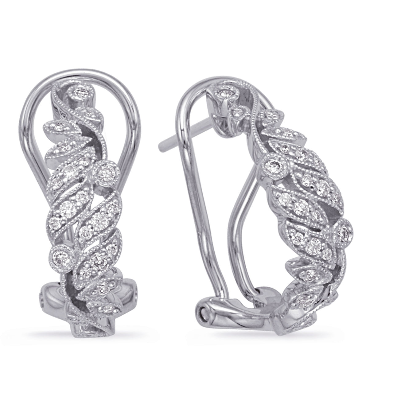 14K White Gold Diamond Earrings.#1090-E7996WG