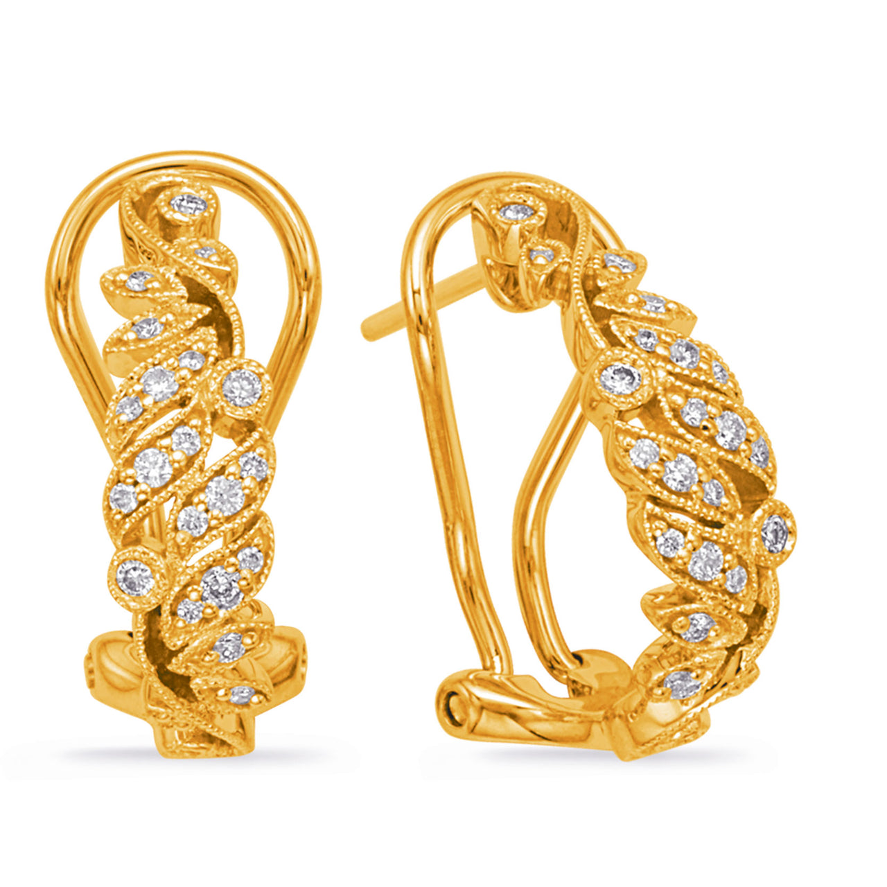 14K Yellow Gold and Diamond Earrings. #1090-E7996YG