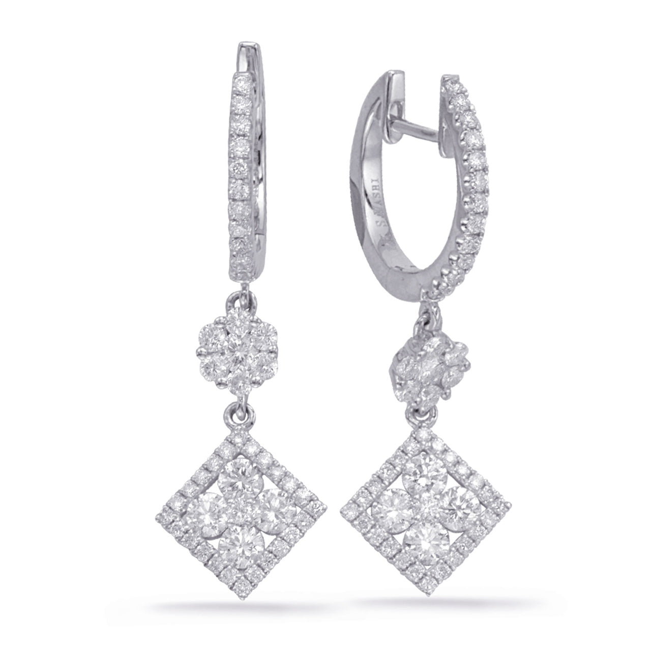 14K White gold and Diamond Earrings.#1090-E7997WG