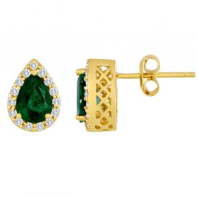 14k Emerald & Diamond Earrings. #1163-E859YZ-E