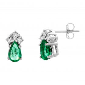 14K Emerald & Diamond Earrings. #1163-E921W-E