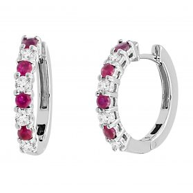 14K Ruby & Diamond Earrings. #1163-EH810W-R