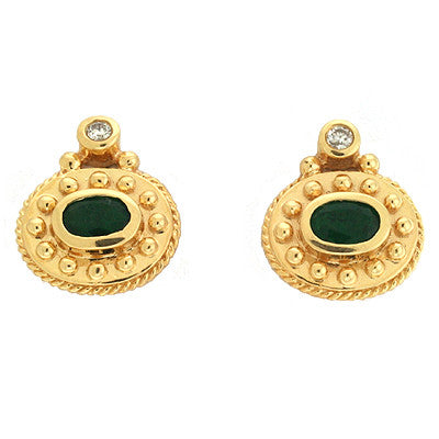 Emerald./ Diamond Earring