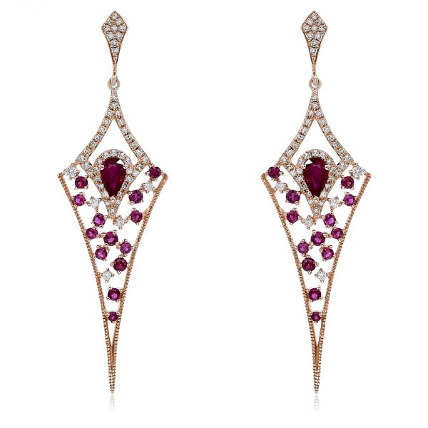 14K Ruby & Diamond Earrings.#1099-E16475