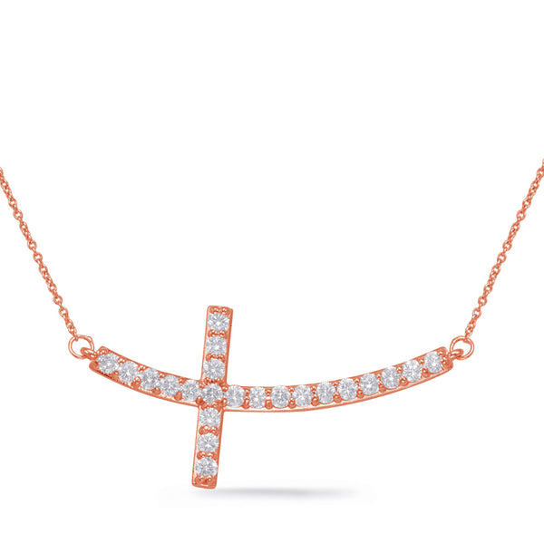 14K Rose Gold Diamond Necklace.#1090-N1154RG