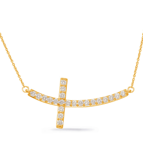 14K Yellow Gold Diamond Necklace. #1090-N1154YG