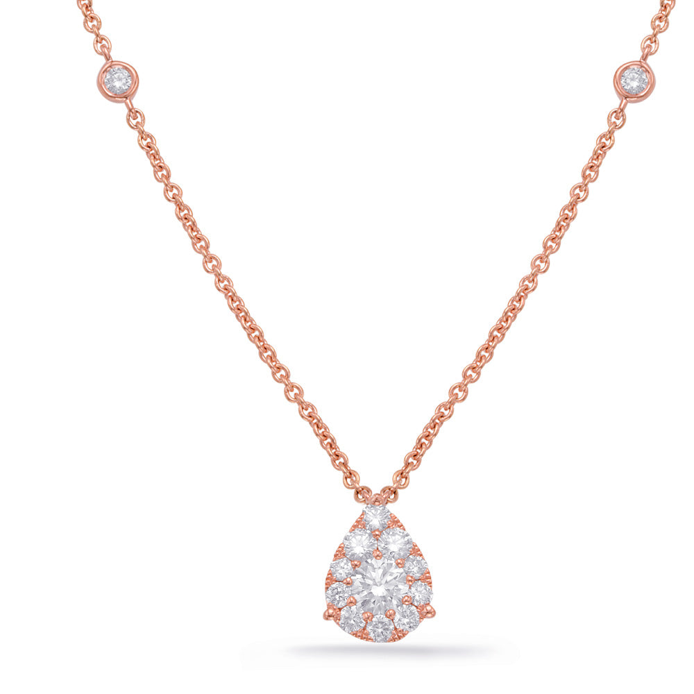 14K Rose Gold Diamond Necklace. #1090-N1188RG