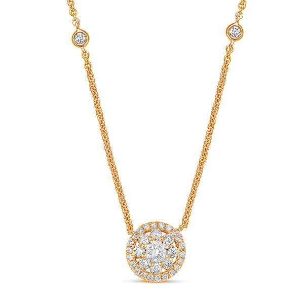 14K Rose Gold Diamond Necklace. #1090-N1198RG