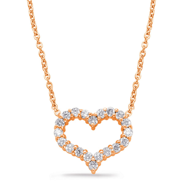 14K Rose Gold Diamond Necklace.#1090-N1197RG