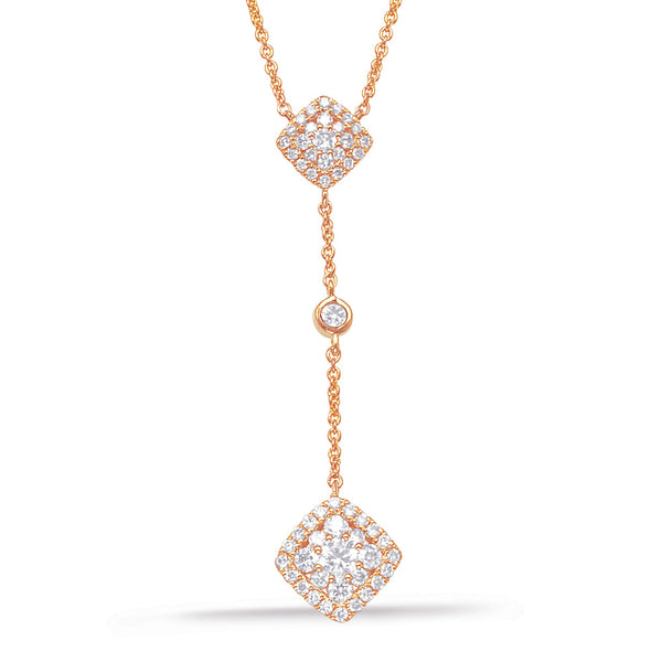 14K Rose Gold Diamond Necklace.#1090-N1205RG
