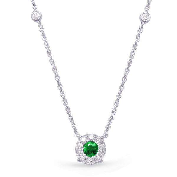 14K White Gold Emerald Necklace.#1090-N1208-EWG