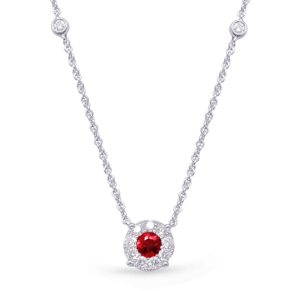 14K White Gold Ruby Necklace. #1090-N1208-RWG