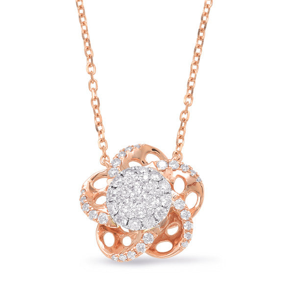 Rose & White Gold Diamond Necklace