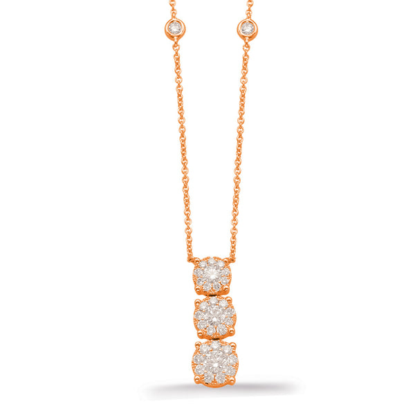 14K Rose Gold Diamond Necklace.#1090-N1212RG