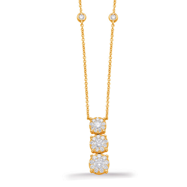 14K Yellow Gold Diamond Necklace.#1090-N1212YG