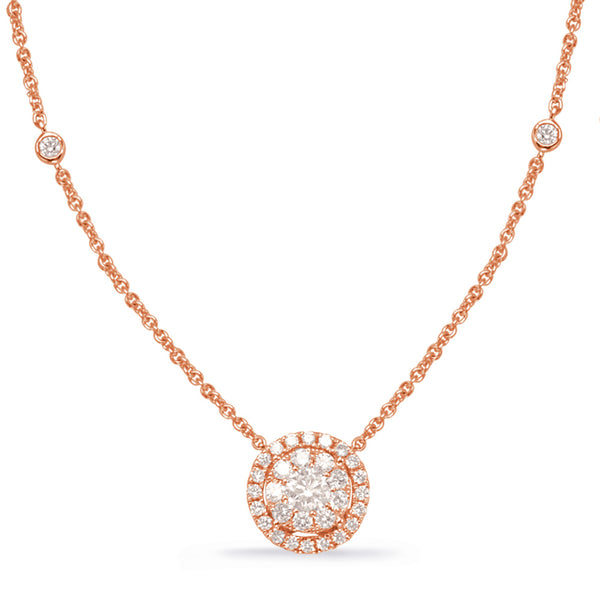 14K Rose Gold Diamond Necklace. #1090-N1213RG