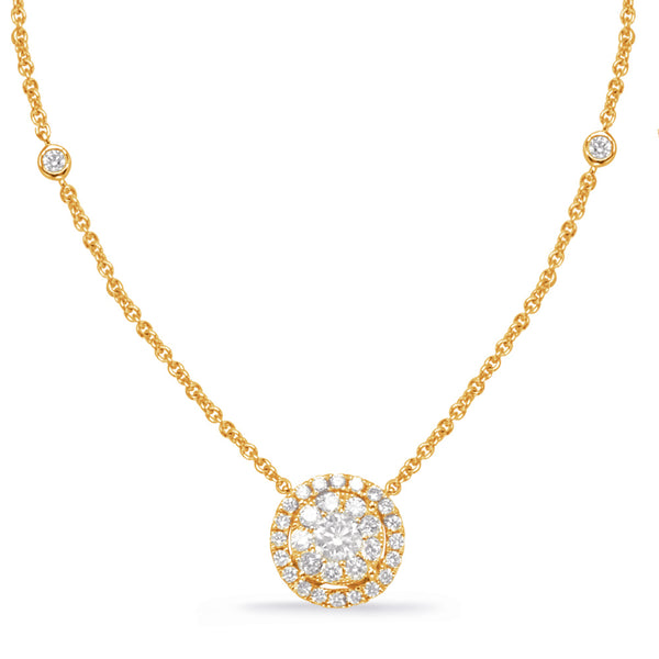 14K Yellow Gold Diamond Necklace.#1090-N1213YG