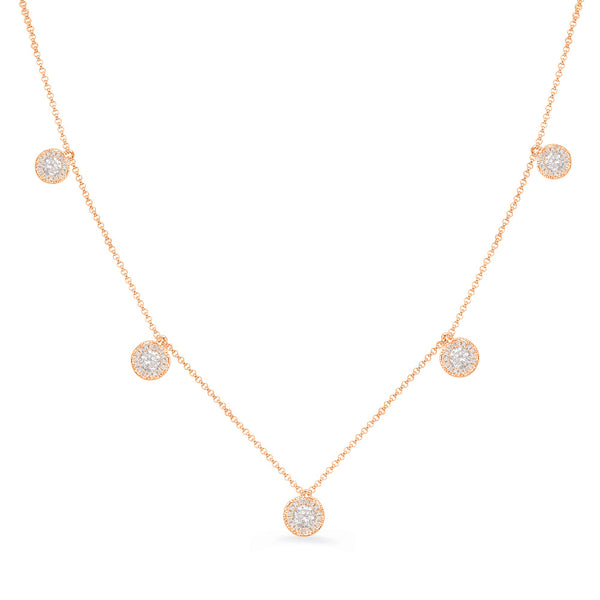 14K Rose Gold Diamond Necklace. #1090-N1215RG
