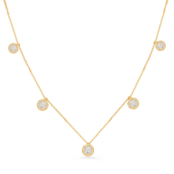 14K Yellow Gold Diamond Necklace. #1090-N1215YG