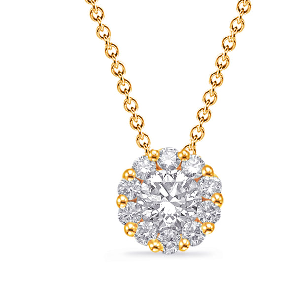 14K Yellow Gold Diamond Necklace. #1090-N1216YG