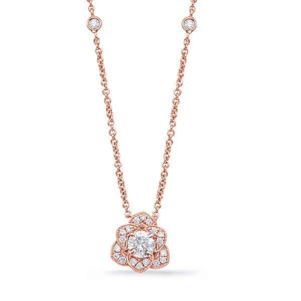 14K Rose Gold Diamond Pendant.#1090-N1220-33RG