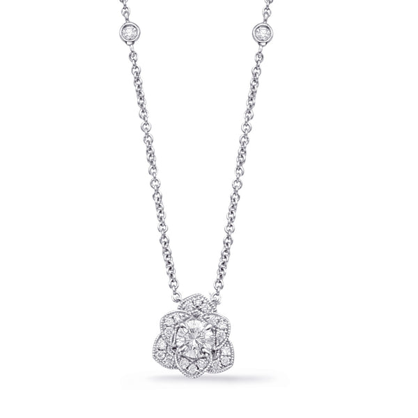 14K White Gold Diamond Necklace. #1090-N1220-33WG