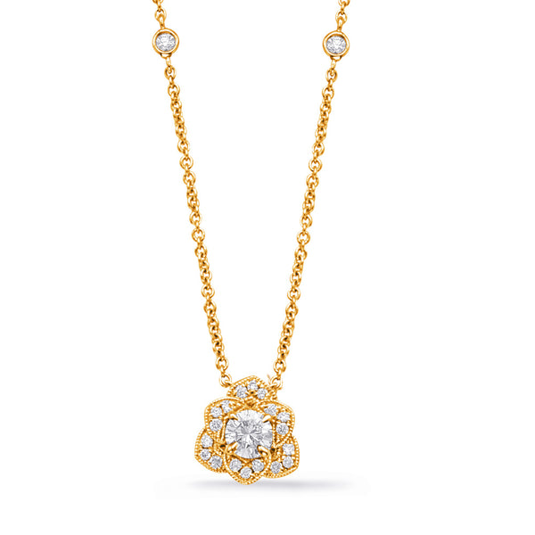 14K Yellow Gold Diamond Necklace.#1090-N1220-33YG