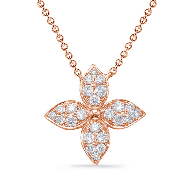14K Rose Gold Diamond Necklace. #1090-N1222RG