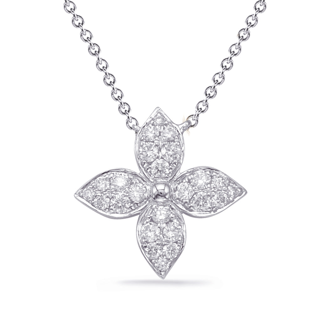 14K White Gold Diamond Necklace. #1090-N1222WG