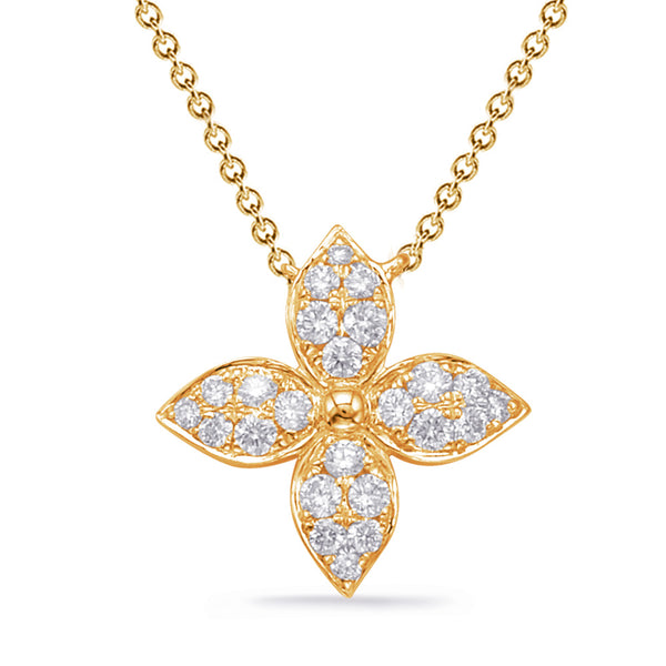 14K Yellow Gold Diamond Necklace.#1090-N1222YG