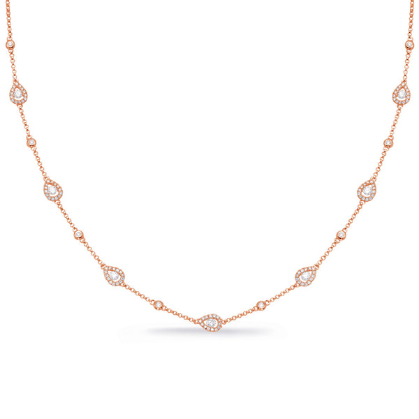 14K Rose Gold Diamond Necklace. #1090-N1225RG