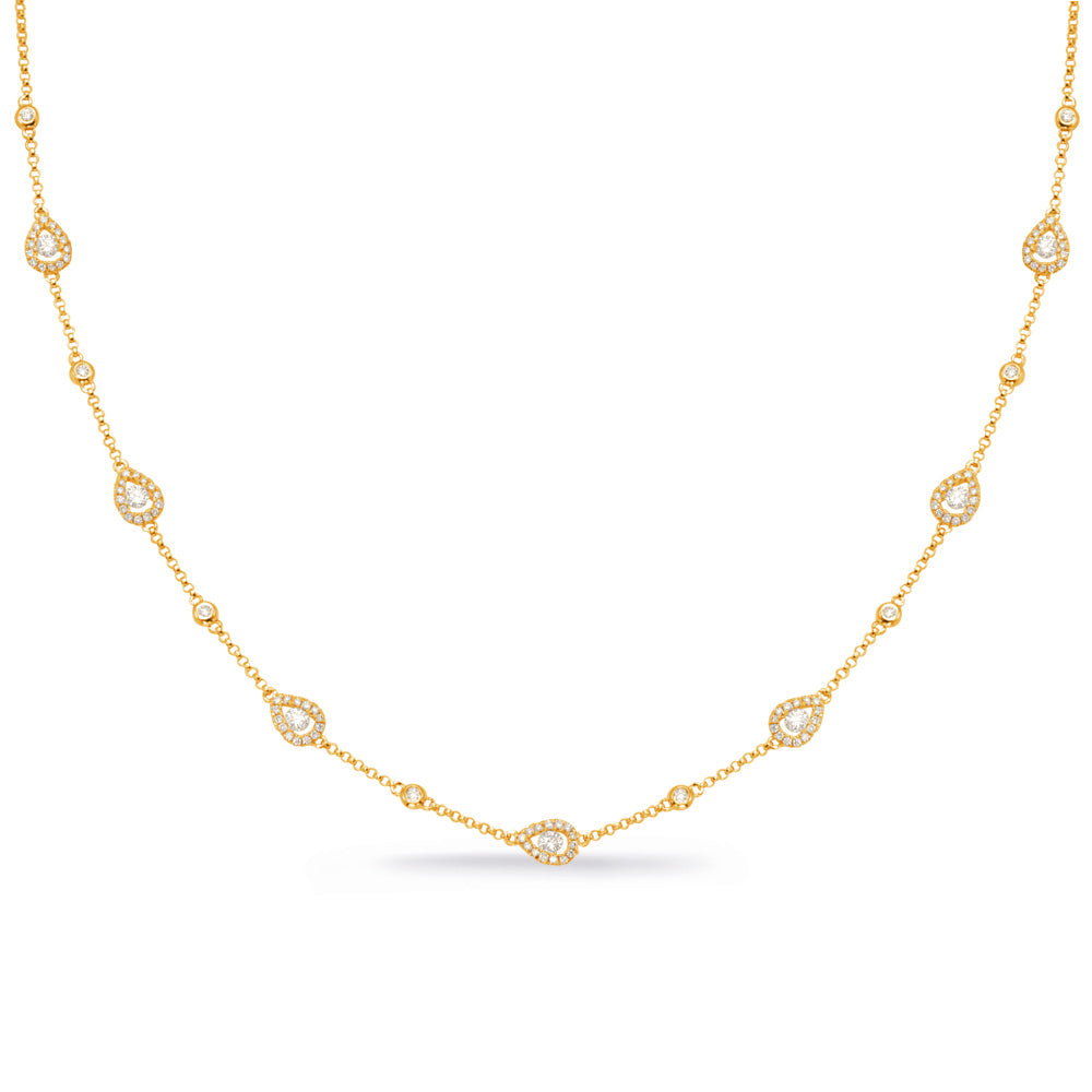 14K Yellow Gold Diamond Necklace. #1090-N1225YG