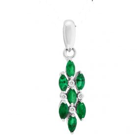 14K Emerald & Diamond Pendant. #1163-P1140W-E