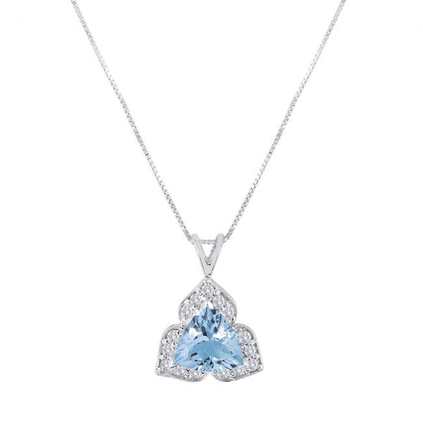 14K Aquamarine and Diamond Necklace. #1163-P1292W-AQ