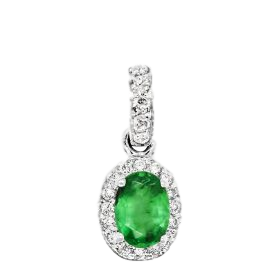 14K Emerald & Diamond Pendant. #1163-1594W-E