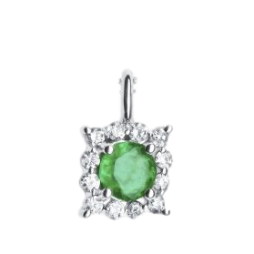 14K Emerald & Diamond Pendant. #1163-P2137WZ-E