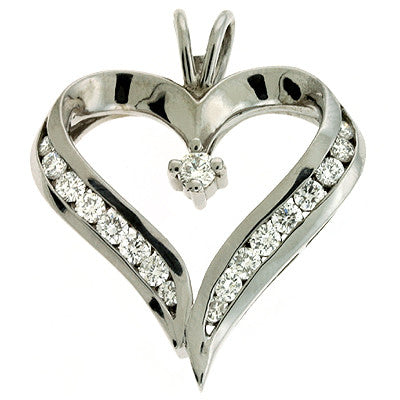 Channel Set Heart Pendant