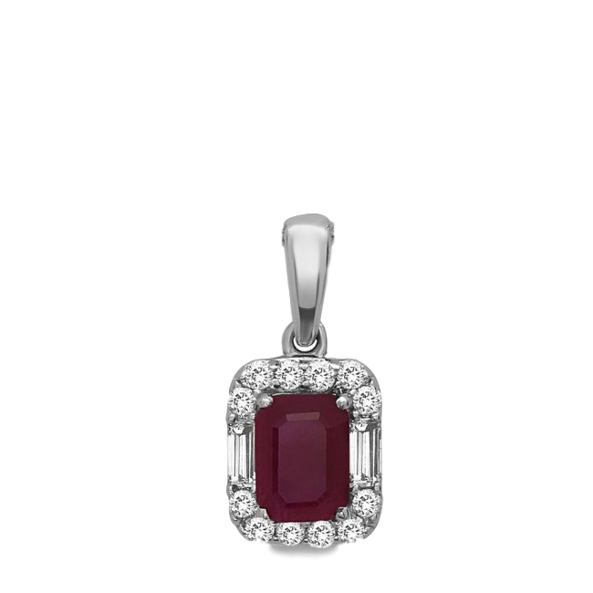 14K Ruby & Diamond Pendant.#1163-P2291W-R