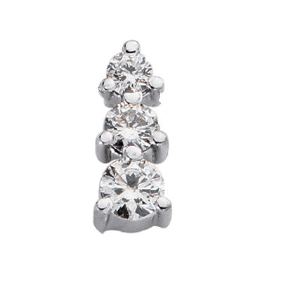 Three Stone Charm White Gold