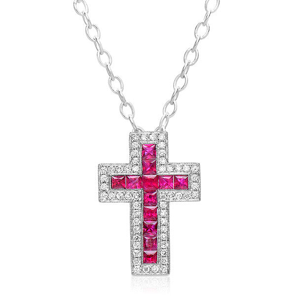 Ruby & Diamond Cross Pendant