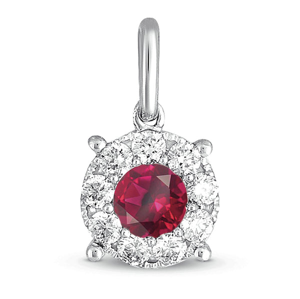 14K White Gold Ruby and Diamond Pendant. #1090-P3168-RWG