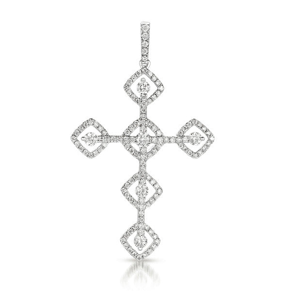 White Gold Diamond Cross Pendant